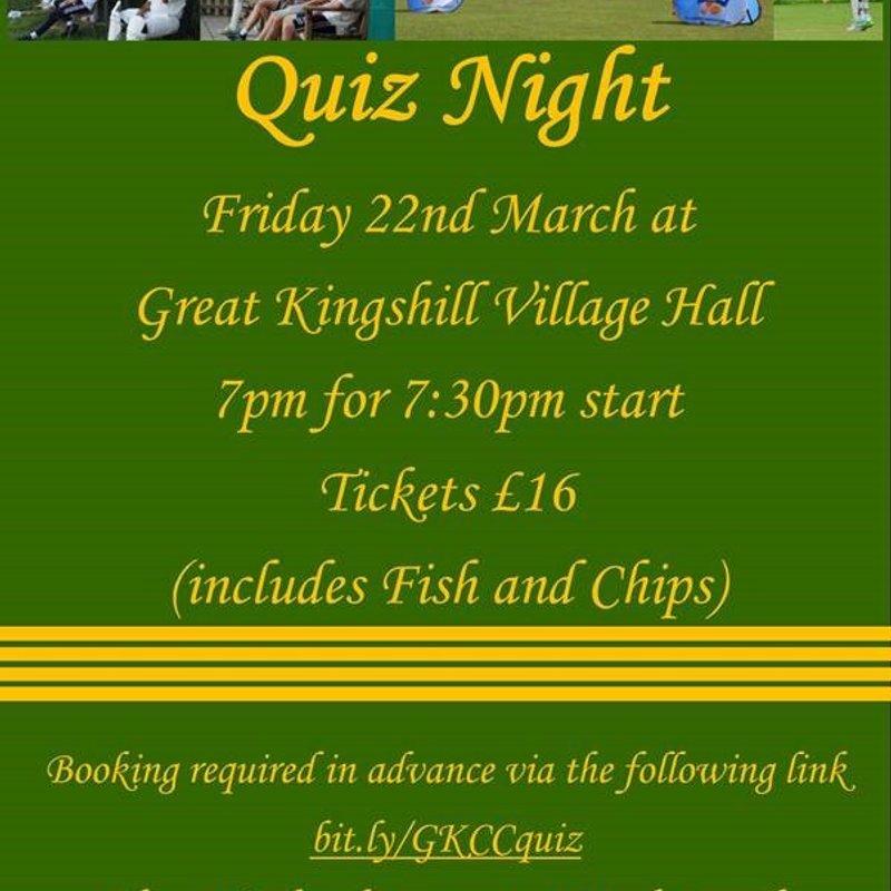 GKCC Quiz Night - Friday 22nd March
