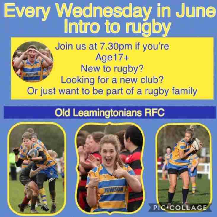 Intro to women's rugby every Wednesday 7.30pm