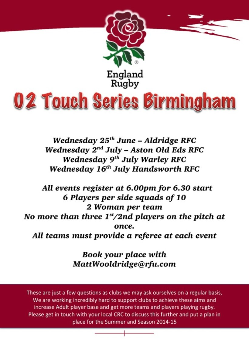 O2 Touch Series Birmingham - News - Aston Old Edwardians