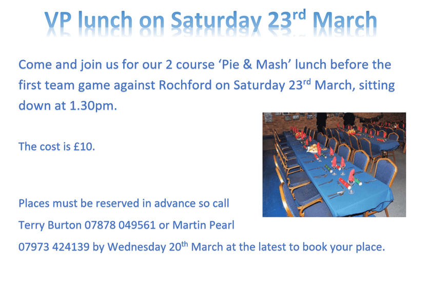 Come and join us at our VP lunch  on Saturday 23rd March, all are welcome.