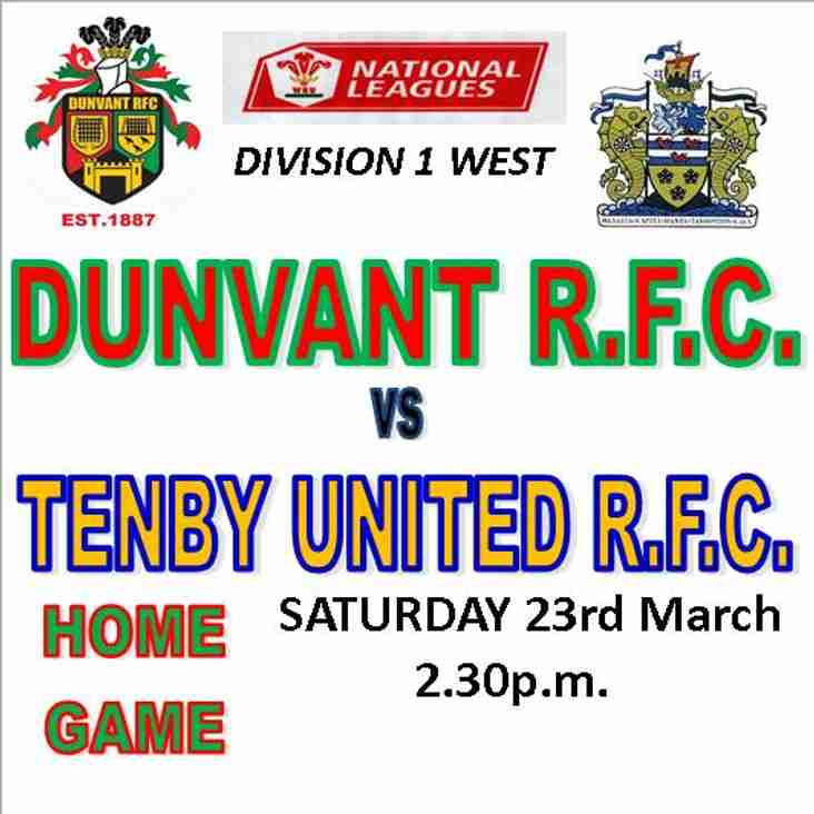 DUNVANT HOST THE SEASIDERS THIS SATURDAY 2.30 p.m. (23rd Mar)