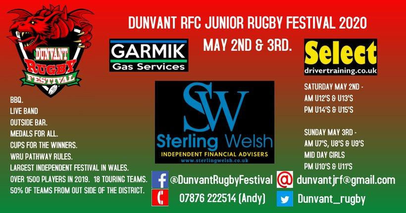 Sterling Festival 2020 DUNVANT RFC JUNIOR RUGBY FESTIVAL 2020   News   Junior & Mini