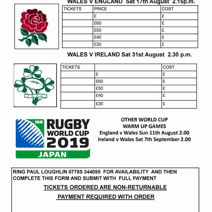 WALES WORLD CUP WARM UPS TICKETS NOW ON SALE AT DUNVANT RFC