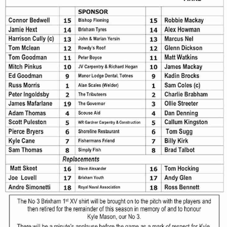 Team selection Brixham RFC versus Weston-super-Mare
