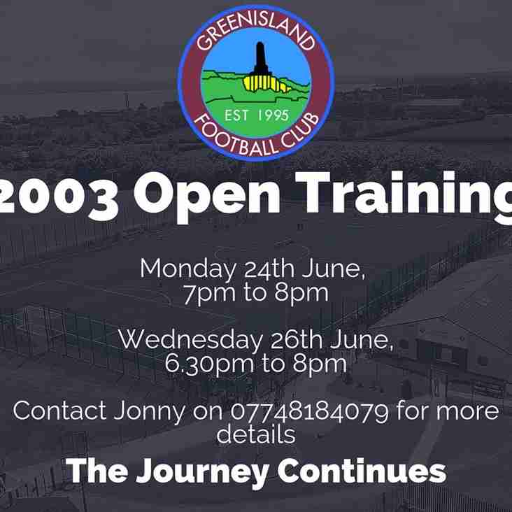 03's Open Training - New Players Welcome