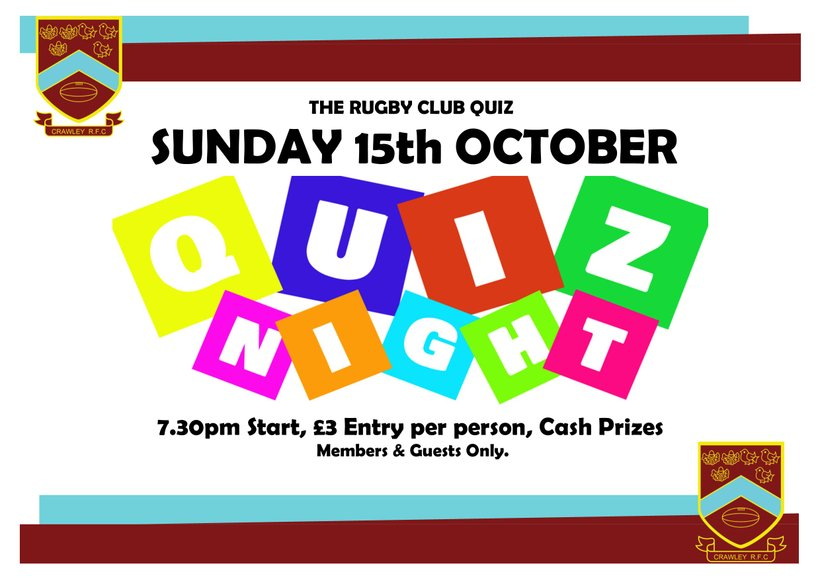 The 4th Quiz night! - Sunday 15th October 7:30pm (even more
