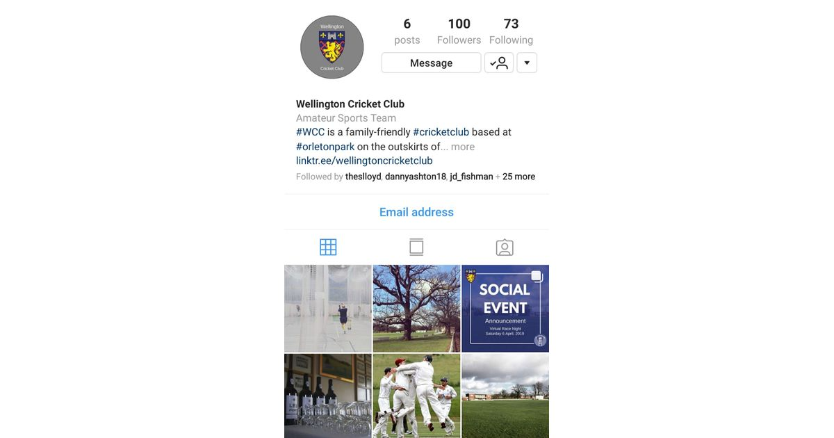 Wellington CC Are Now On Instagram - News - Wellington Cricket Club