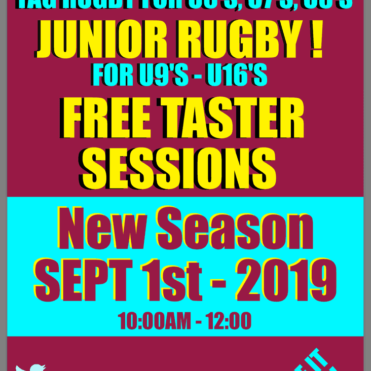 Mini & Juniors - New Season -Starts Sunday 1st September 2019