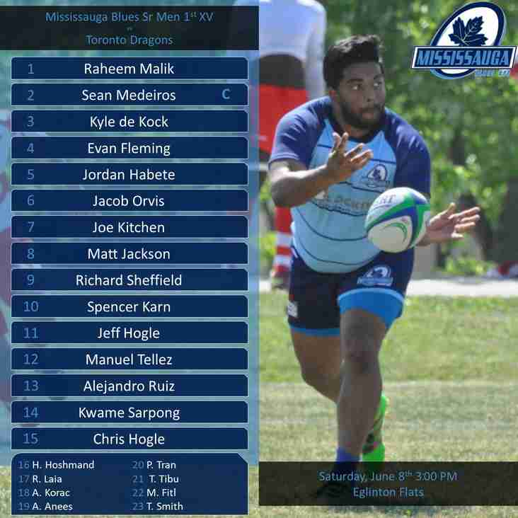 Blues Sr Men Announce Line-up for Saturday's Game vs the Toronto Dragons