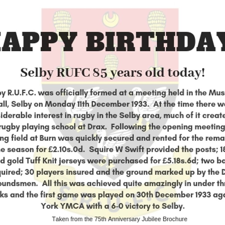 Happy Birthday Selby RUFC!<
