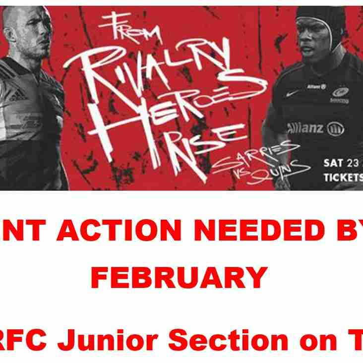 Junior Trip To London Stadium to see Saracens V Harlequins 23rd March
