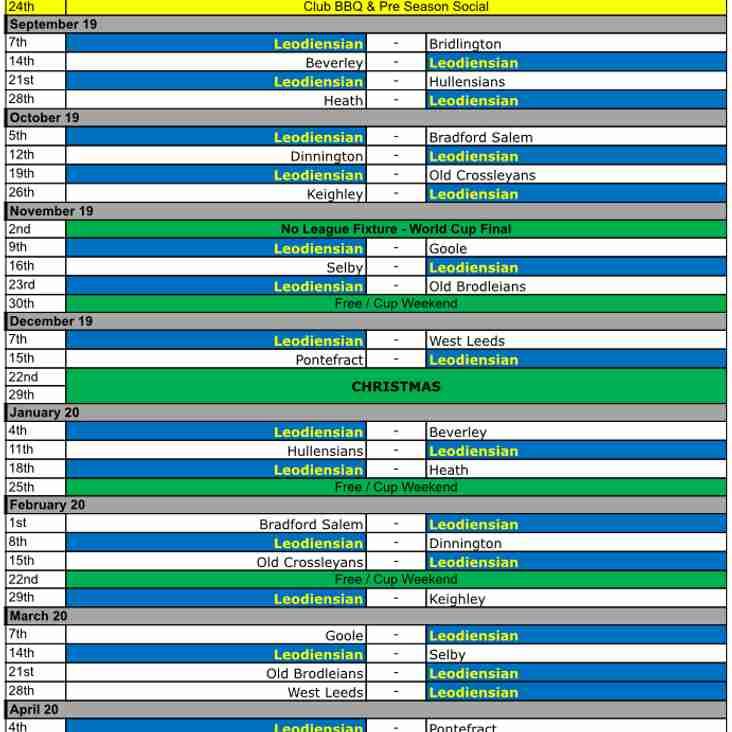 2019/20 Season Fixtures