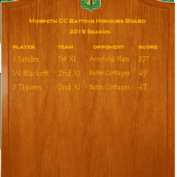 First Honours boards of the 2019 Season