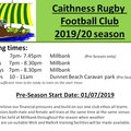 2019/20 Preseason training schedule All teams and age groups