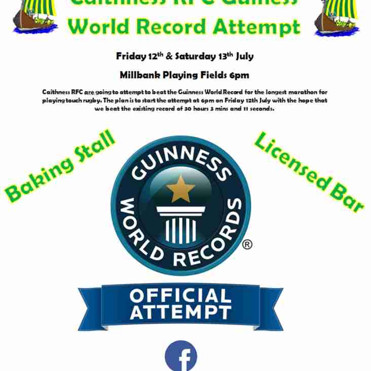 Touch Rugby World Record Attempt. Friday 12th July thru Saturday 13th.