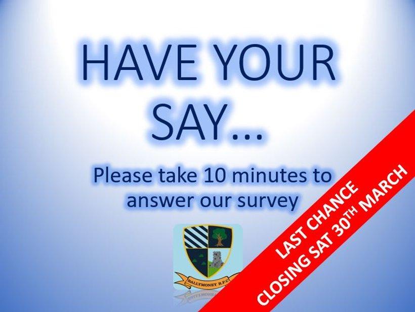 Club Survey - Closing Soon - News - Ballymoney RFC