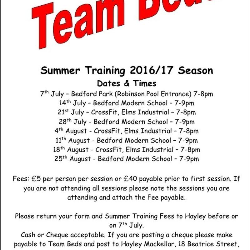 Team Beds Summer Training