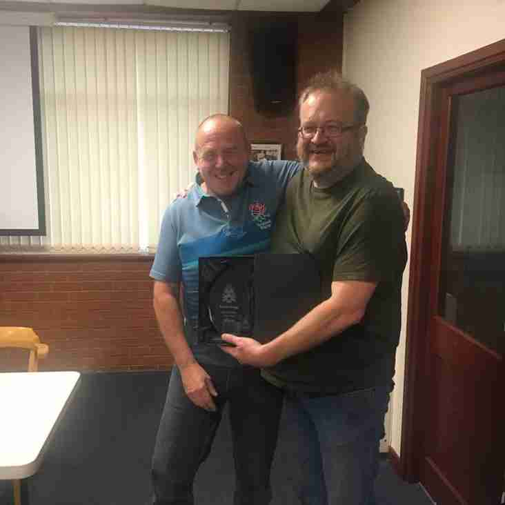 Well done - Simon Begg, Club volunteer of the season 2018/19