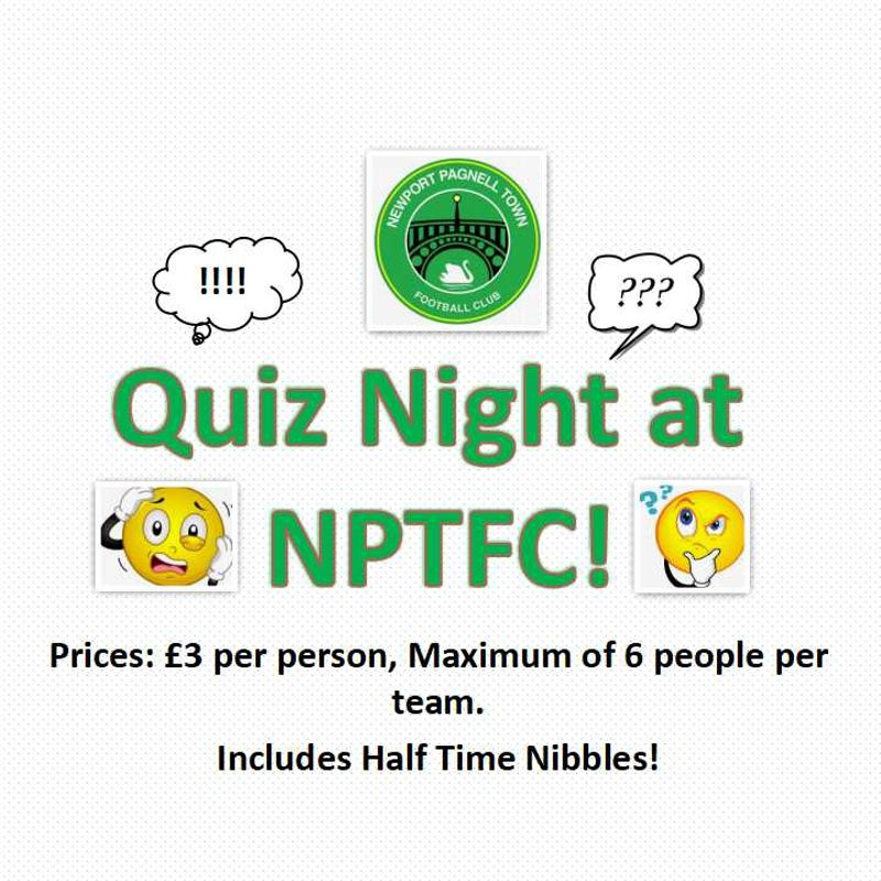 Quiz Night at NPTFC - Friday 22nd February 2018 at 8PM