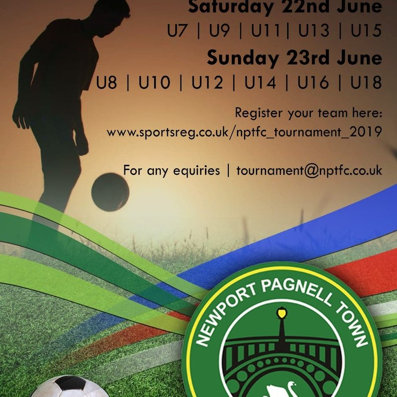 The Newport Pagnell Town Football Club 2019 Youth Tournament - 22nd & 23rd June.  Limit Places Places Left!