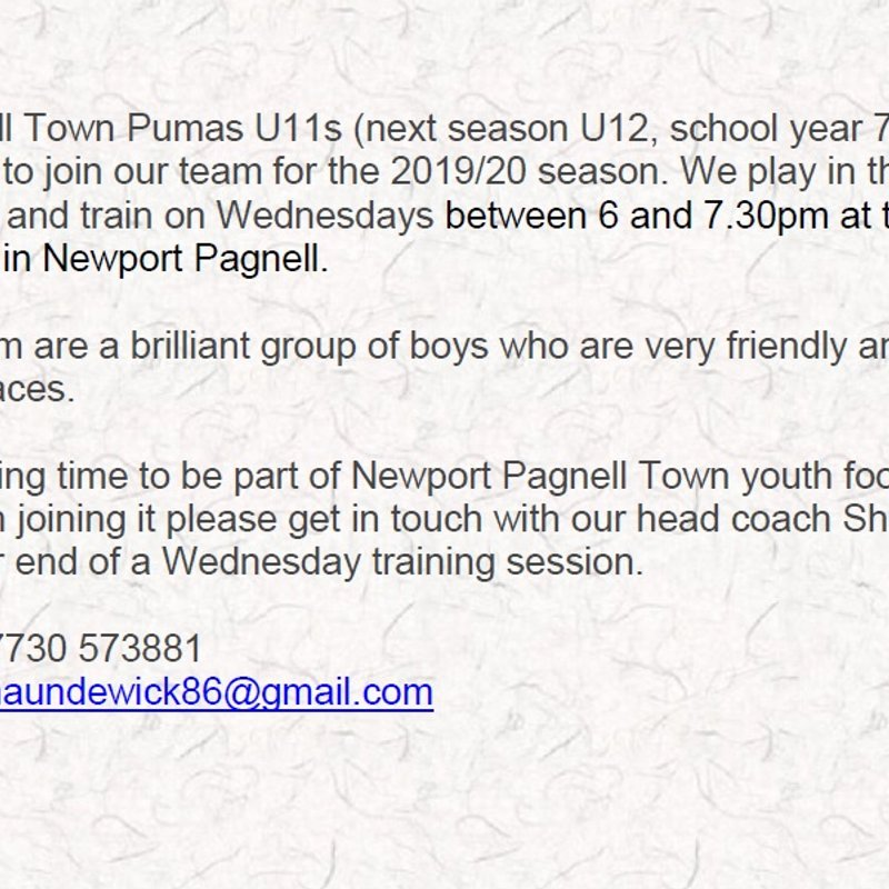 Newport Pagnell Town Pumas U11s (next season U12, school year 7) are looking for new players