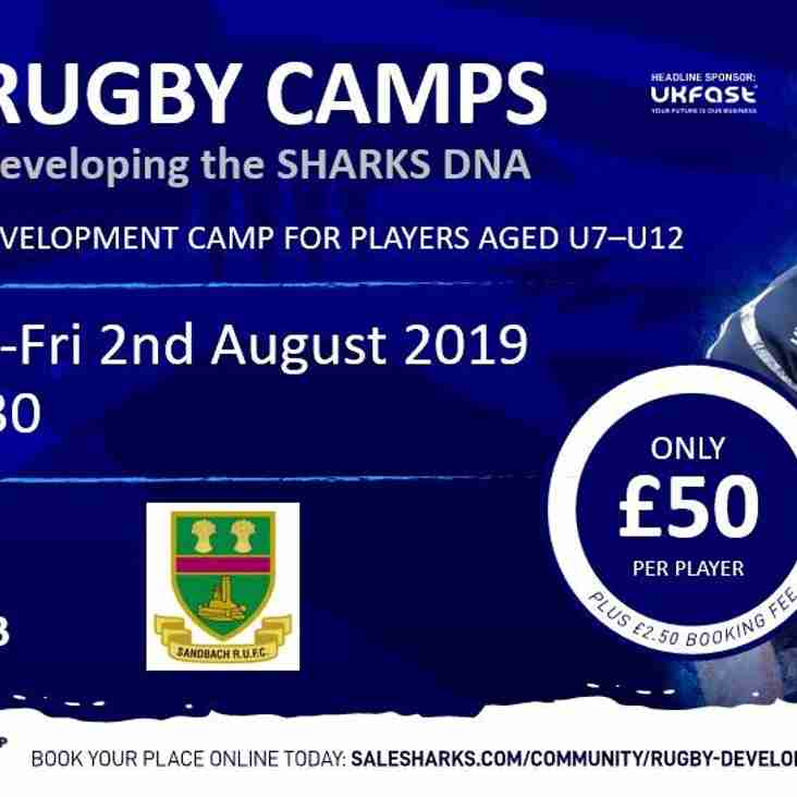 Sale Sharks summer camp at Sandbach 1st and 2nd August