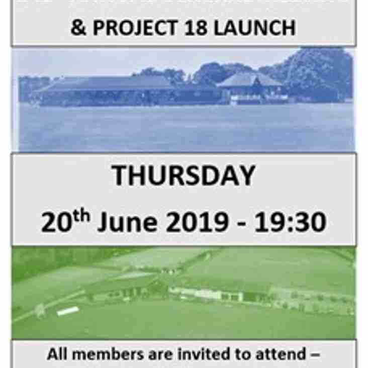 141st TSC AGM & launch of Project 18 (Phase 1) - Thursday 20th June 2019 - 19:30