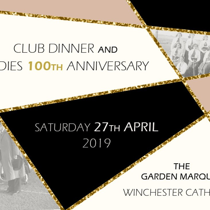 Club dinner and ladies 100th anniversary - Tickets on sale now!<