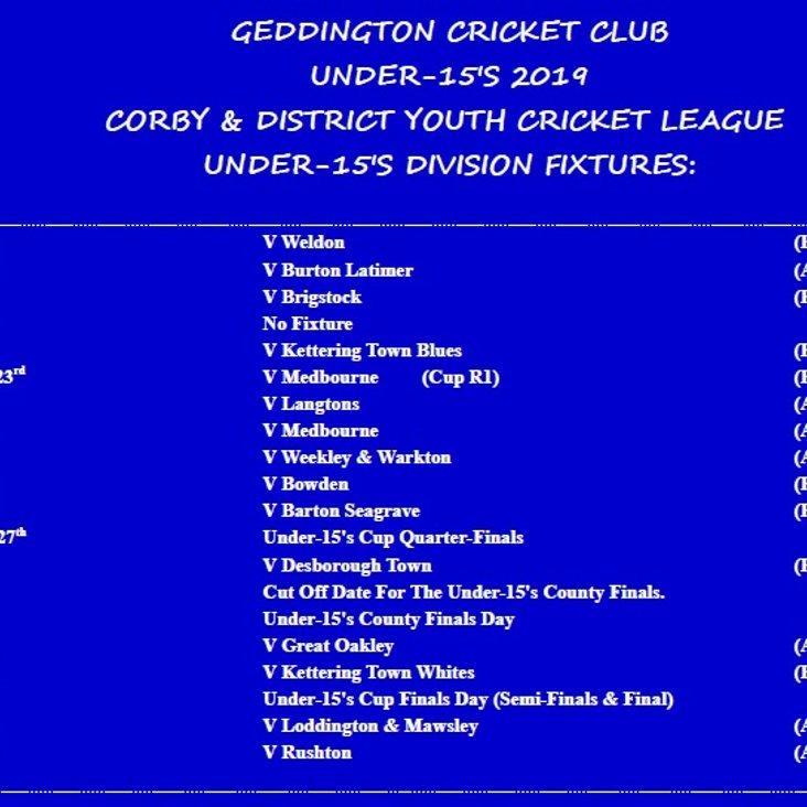 Geddington CC Under-15&#039;s 2019 Fixtures Released:<