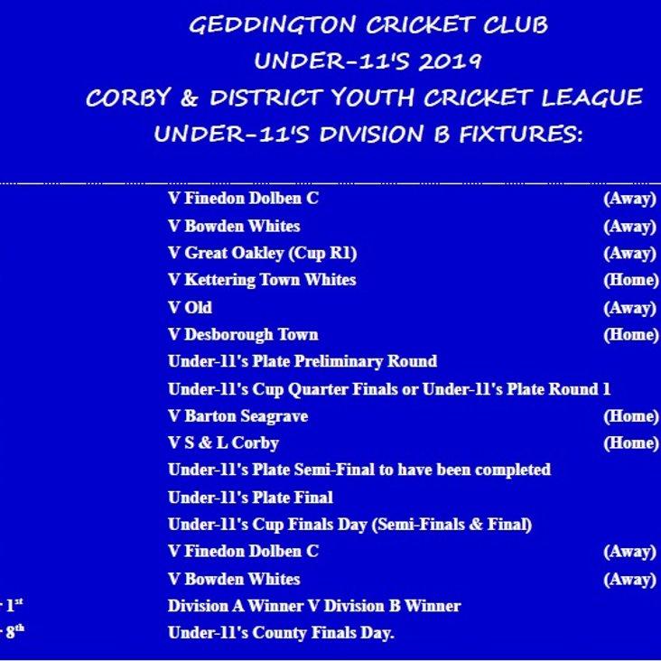 Geddington CC Under-11&#039;s 2019 Fixtures Released.<