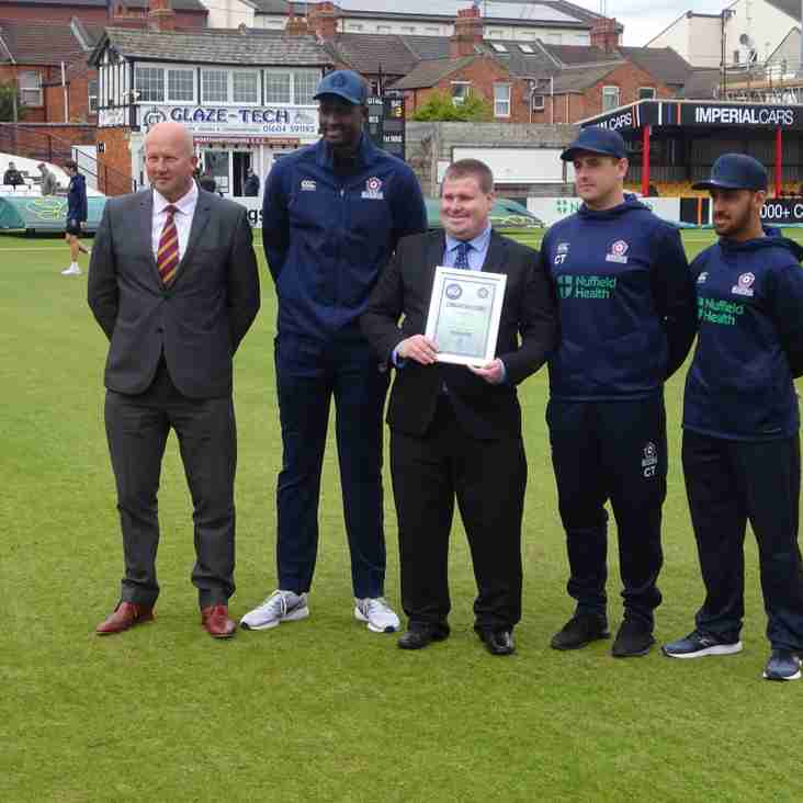 Nathan Armstrong Presented With The Northants Outstanding Service Cricket Award For Officiating