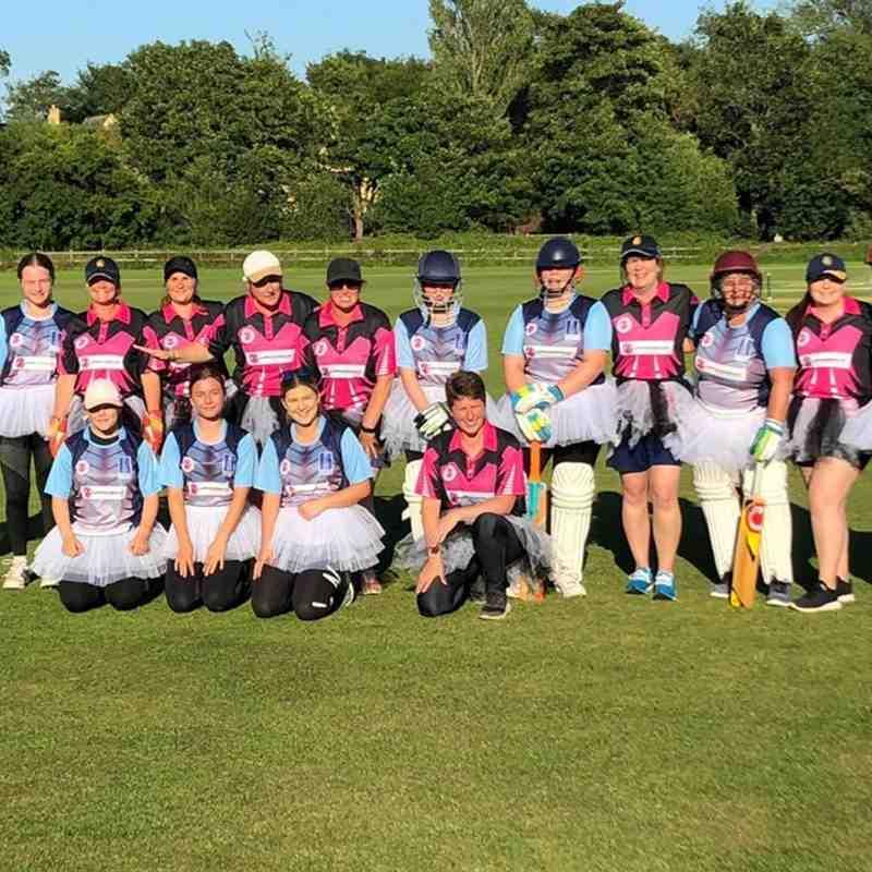 Geddington Ladies V Burton Latimer Ladies Team Photo At Geddington Cricket Club. 5th July 2019.