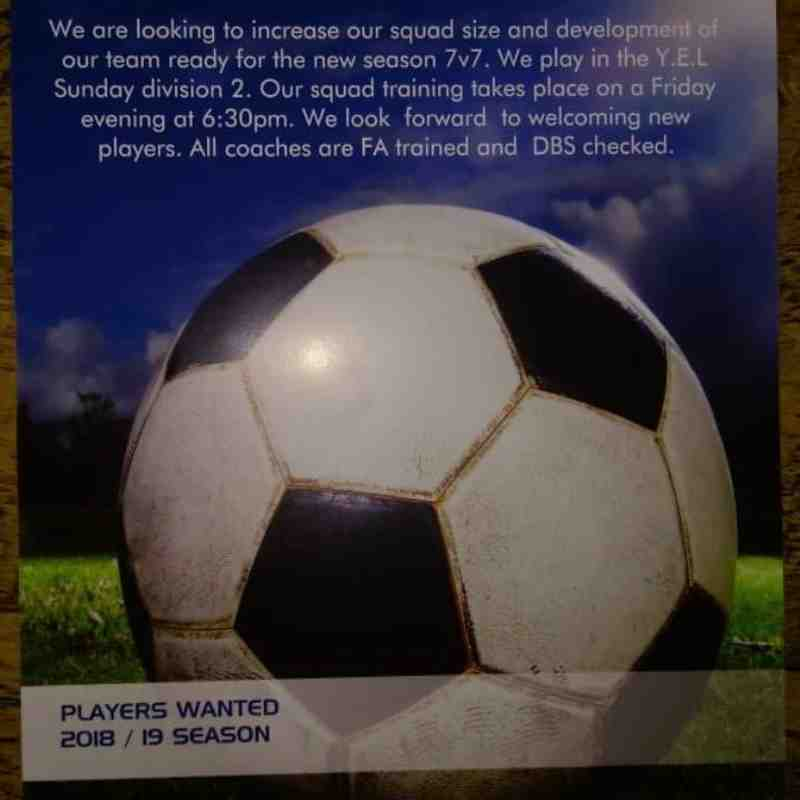 U9 players needed