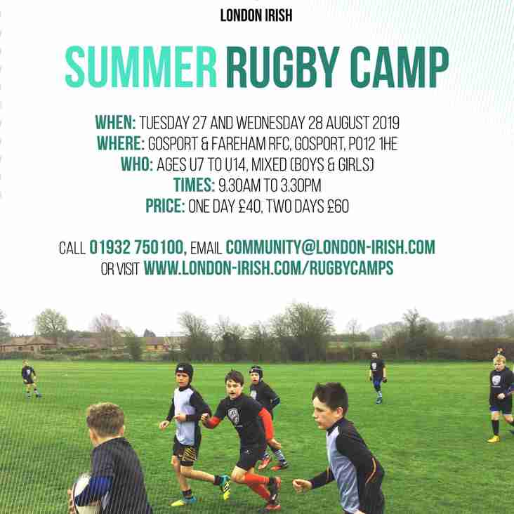 London Irish Rugby Camp August 27/28 at Gosport RFC