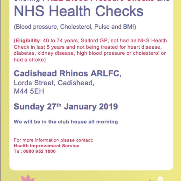Free blood pressure and NHS health screenings