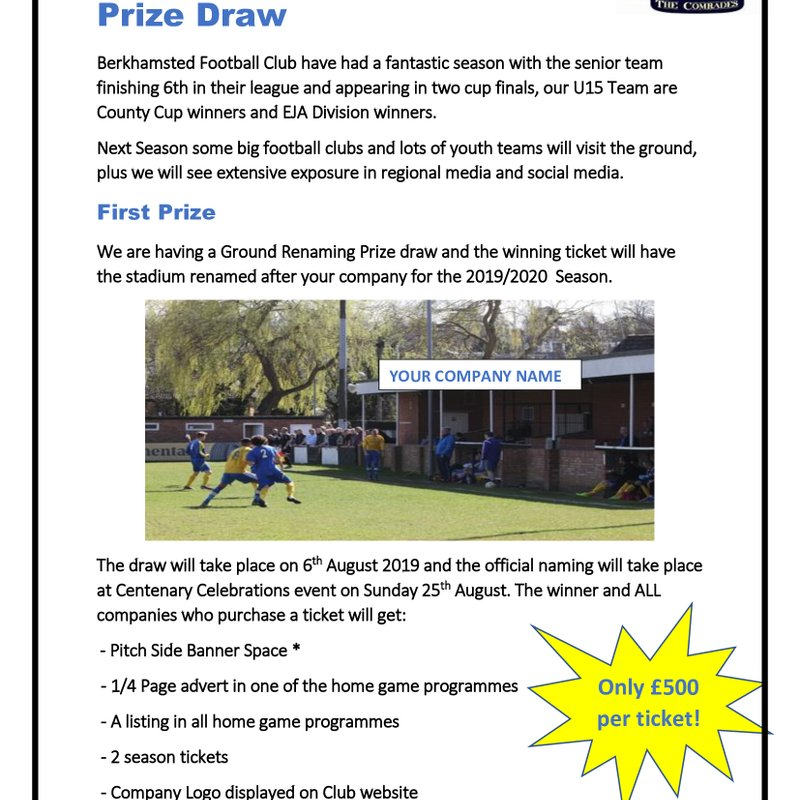 Berko FC To Hold Ground Renaming Prize Draw