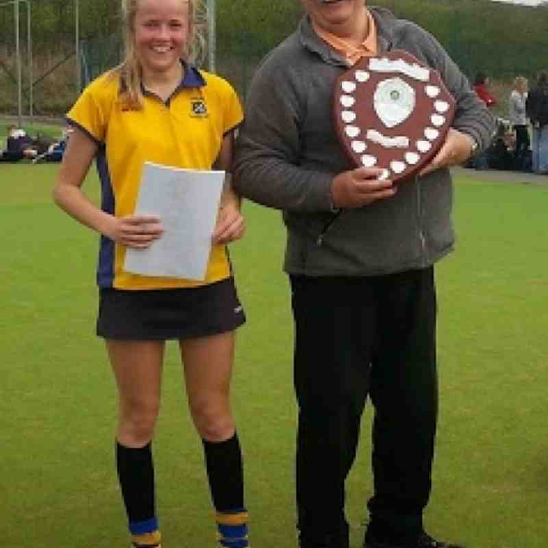 Annabel Hill receives the winners trophy from YYHL organiser Phil Thomas.