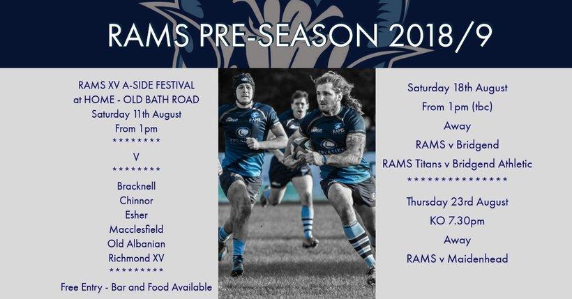 Rams Pre-Season 2019/19 Fixtures - News - Rams Rugby Football Club