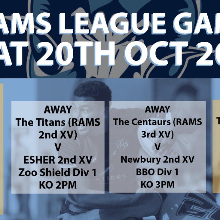 Rams teams in league action Saturday 20th October 2018<