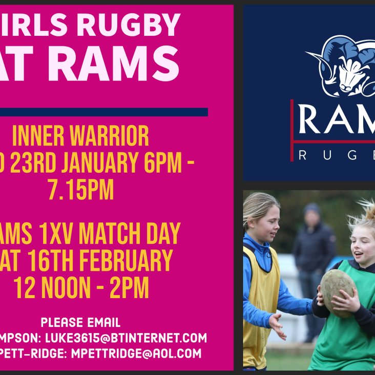 Come and play Girls rugby at RAMS in 2019!<