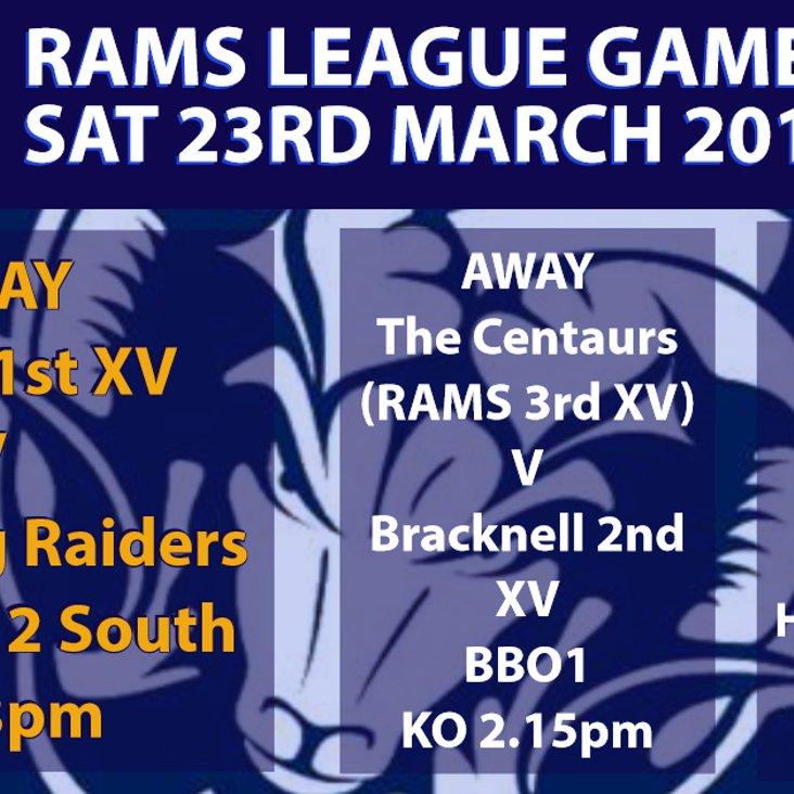 Rams teams in league action Saturday 23rd March 2019<