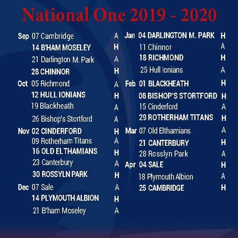 RAMS 1st XV NAT 1 Fixtures - EARLY BIRD Season Ticket Offer
