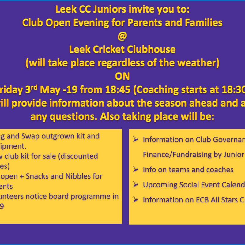 Leek CC  Junior Training+ Open Evening 2019