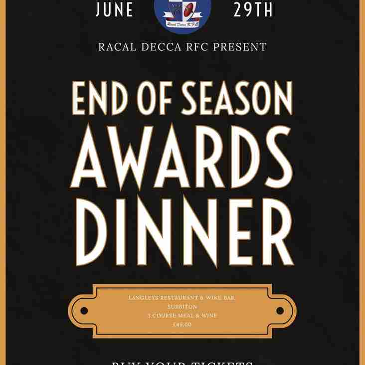 End of Season Awards - Saturday 29th June 2019 - Last, last call - Only 8 seats remaining