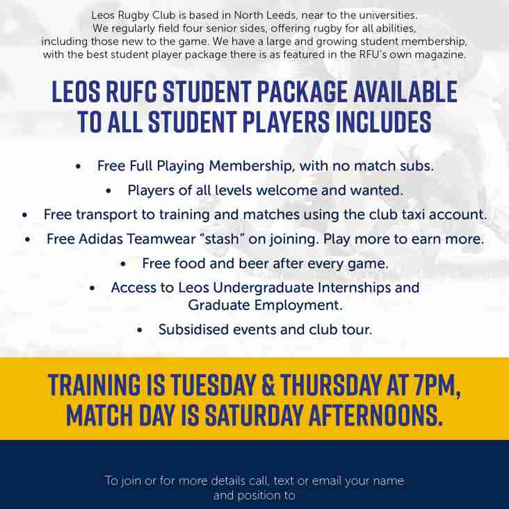 STUDENT IN LEEDS? WANT TO PLAY RUGBY WITH NO COSTS?
