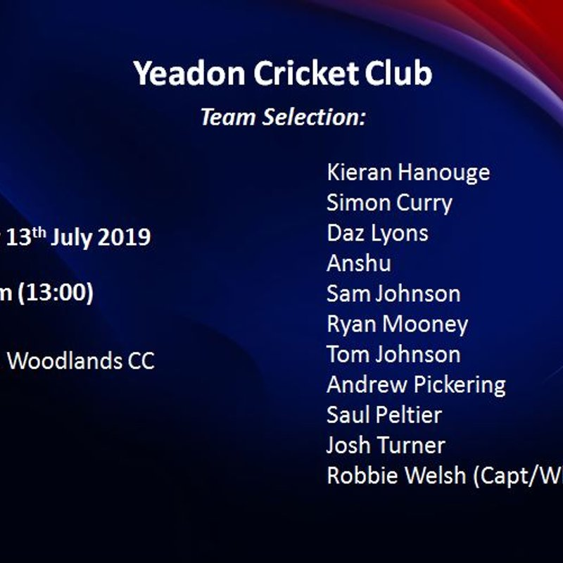 Team Selection - 2nd XI - 13th July 2019 - HOME vs Woodlands