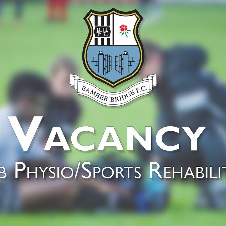 Vacancy: Club Physiotherapist/Sports Rehabilitator<