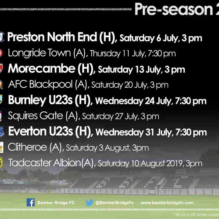 2019/20 Pre-Season Fixtures
