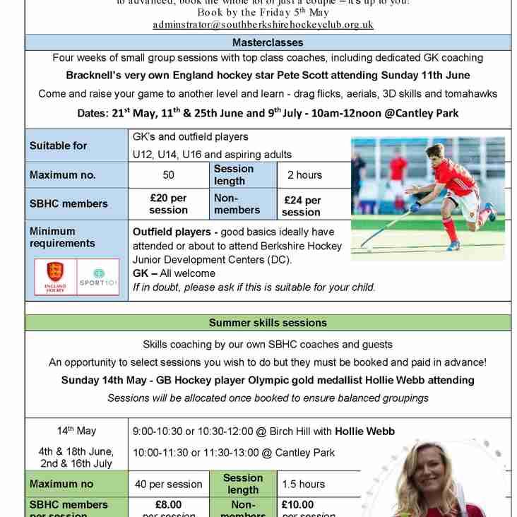 SBHC Summer Hockey Training - Skills and Masterclasses