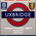 THIS WEEKENDS MATCHDAY PROGRAMME - UXBRIDGE VS HANWELL TOWN